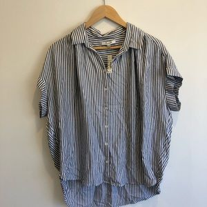 Madewell striped short sleeve button up- NWT